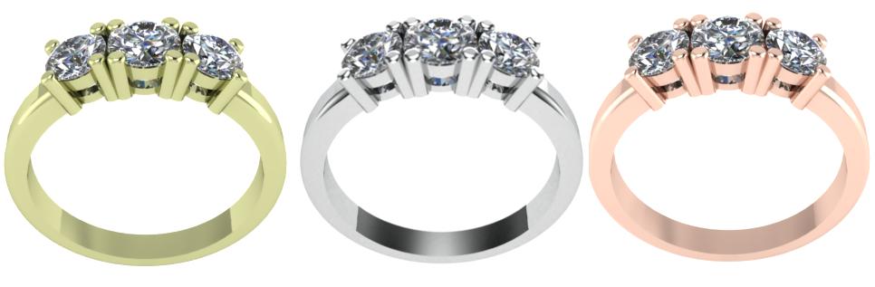 Custom Ring Design trilogy all metals